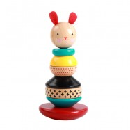 image of [Little B House] Wooden Toys Rabbit Tumbler Roly-poly Geometric Shape Rainbow Tower - BT75