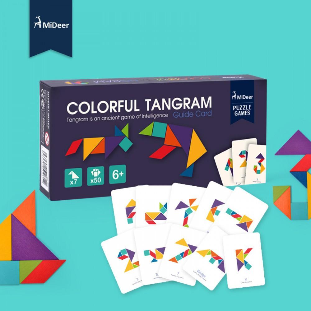 Little B House] Mideer Wooden Colorful Tangram IQ Game Brain