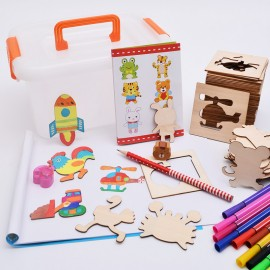image of [Little B House] Children Painting Stencil Templates with Water Color Pen Set Drawing Tools for Kids - BT80