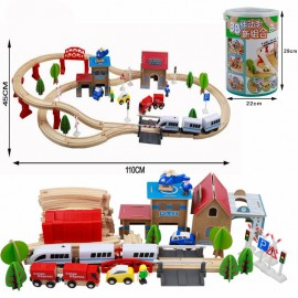 image of [Little B House] Wooden DIY Electronic City Train Track Railway Play Set Kids Educational Puzzle Toy - BT84