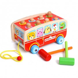 image of [Little B House] Wooden Hammer Whacking Percussion Hamster Bus Toy - BT87