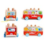[Little B House] Wooden Hammer Whacking Percussion Hamster Bus Toy - BT87