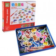 image of [Little B House] 32 Fishes + 2 Fishing Rods Wooden Children Fishing Toys Set Magnetic Puzzle Board Fish Game - BT88