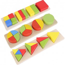 image of [Little B House] Wooden Geometric Shape Matching Toy Building Blocks Puzzle Set - BT91