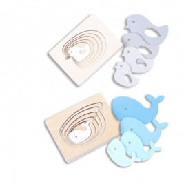 image of [Little B House] Multi-layer Wooden Imposition Cartoon Animals Puzzles Kids Educational Toy - BT92