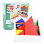 [Little B House] Colorful Wooden Tangrams Set Geometry Shape Puzzle Toy 32 Pieces Set - BT93