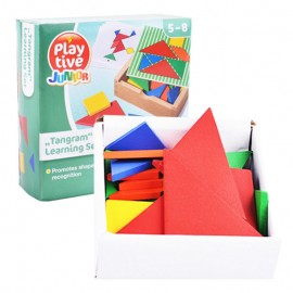 image of [Little B House] Colorful Wooden Tangrams Set Geometry Shape Puzzle Toy 32 Pieces Set - BT93