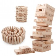 image of [Little B House] 51Pcs Wooden Domino Tower Building Blocks Game Geometric Shape Toy - BT96
