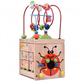 image of [Little B House] Wooden Bead Maze Activity Center Around Circle Educational Skill Improvement Toys - BT97