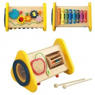 image of [Little B House] Wooden Multi Function Triple Percussion Instrument Combination Music Box Toys - BT99
