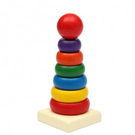 image of [Little B House] Wooden Stacking Stack Up Colorful Rainbow Tower Building Blocks Toys - BT100