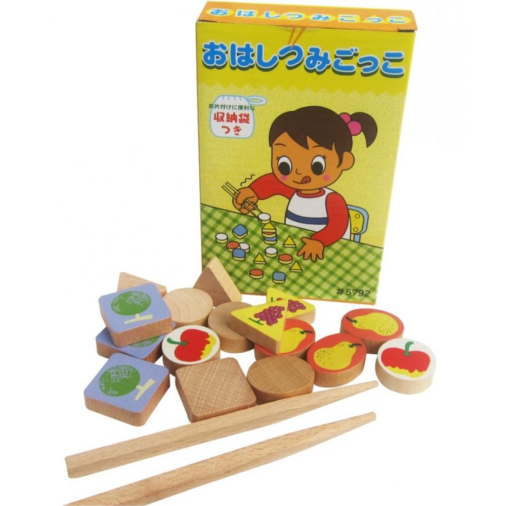 [Little B House] Wooden Kitchen Food Fruit Chopsticks with Storage Bag Games Toys - BT101