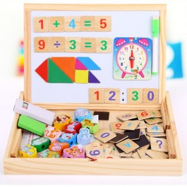 image of [Little B House] Wooden Double Sided Magnetic Drawing Board Birthday Gift Toys for Kids Jigsaw Puzzle Toys for Kids - BT102