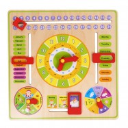 image of [Little B House] Wooden Multi Functional Clock, Date, Season, Weather, Chart Toys for Kids - BT103