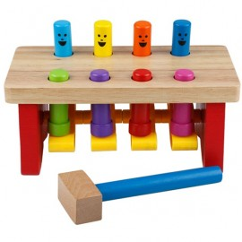 image of [Little B House] Colorful Educational Wooden Hammering Pounding Knocking Bench Toys - BT104