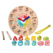 image of [Little B House] Wooden Colorful Jigsaw Clock Building Blocks Digital Geometry Clock Kids Toys - BT105