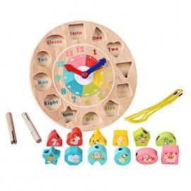image of [Little B House] Wooden Colorful Jigsaw Clock Building Blocks Digital Geometry Clock Kids Toys - BT1..