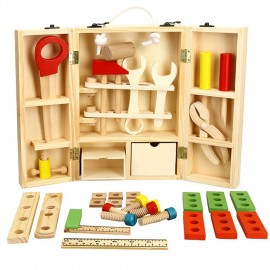 image of [Little B House] Wooden Disassembly & Assembly Carpenter Tool Box Set Nut Combination Toys - BT107