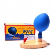 image of [Little B House] Wooden Waterwheel Boat Balloon Powered Boat Baby Bath Toys - BT108