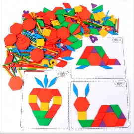 image of [Little B House] Wooden Multifunctional Creative Puzzle Tangram Brain Teaser Puzzle Toys - BT113