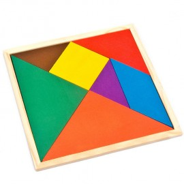 image of [Little B House] Wooden Triangle Jigsaw Puzzle Mental Developmental Toy for Kids - BT114