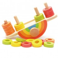 image of [Little B House] Wooden Colorful Rainbow Balance Game Balance Skills Building Block Educational Toys - BT115