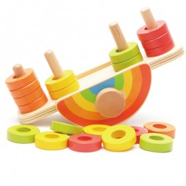 image of [Little B House] Wooden Colorful Rainbow Balance Game Balance Skills Building Block Educational Toys - BT115