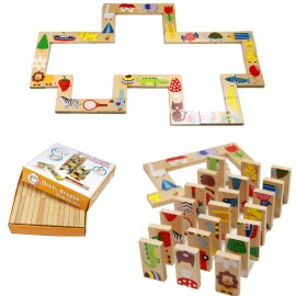 image of [Little B House] Early Learning Wooden 28pcs Animal Solitaire Domino Toys Set for Kids - BT123