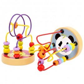 image of [Little B House] Wooden Mini Round Beaded Maze (Hedgehog,Bird,Giraffe,Panda,Sun,Moon) Learning Education Toys - BT126
