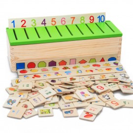 image of [Little B House] Wooden Learning Classification Box Math Montessori Sensory Alphabet Abacus Teaching Toys - BT127