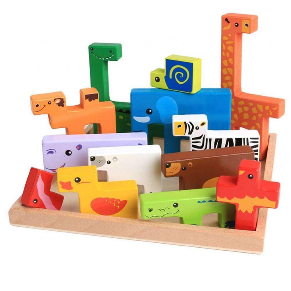 [Little B House] Educational Learning Wooden Creative Animal 3D Building Blocks Toys for Kids - BT128