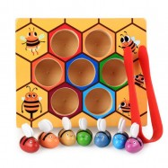image of [Little B House] Wooden Montessori Hive Games Board 7pcs Bees with Clamp Fun Picking Catching Toys - BT129
