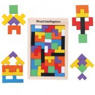 image of [Little B House] Wooden Tangram Tetris Jigsaw Creative Intelligence Logical Building Blocks Toys - BT130