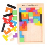 [Little B House] Wooden Tangram Tetris Jigsaw Creative Intelligence Logical Building Blocks Toys - BT130