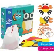 image of [Little B House] Montessori ZE Geoanimo Animal Blocks Jigsaw Puzzle Kids Toys - BT135