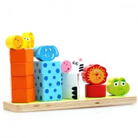 image of [Little B House] Digital Cognitive Shape Colorful Animals Stacked Music Five Animals Wooden Puzzle - BT137