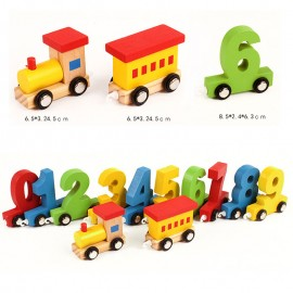 image of [Little B House] Wooden Digital Train Learning Educational Toys For Children - BT138