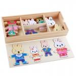 [Little B House] Montessori Wooden 32PCS Cartoon Rabbit Bear Change Clothes Puzzles Toy - BT143