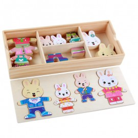 image of [Little B House] Montessori Wooden 32PCS Cartoon Rabbit Bear Change Clothes Puzzles Toy - BT143
