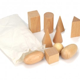 image of [Little B House] 10pcs Wooden Montessori Geometry Mystery Bag Block Set Educational Conitive Toys - BT145