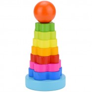 image of [Little B House] Educational Wooden Toy Rainbow Tower Ring Stacking Game for Kids - BT146