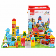 image of [Little B House] 62pcs Wooden Urban City Building Block Educational Toys - BT147