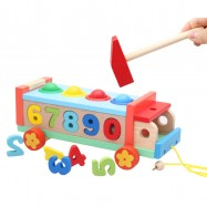 image of [Little B House] Wooden Multifunction Knock The Ball Digital Number Truck - BT175
