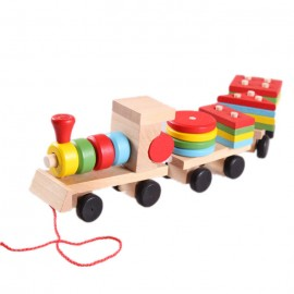 image of [Little B House] Disassembly Combination 3 Small Wooden Train Educational Toys -BKM29