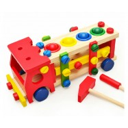 image of [Little B House] Wooden Building Blocks Screw Nut Car Removable Toy Baby Educational Toys -BKM30