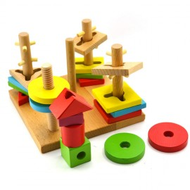 image of Little B House Educational Building Blocks,Layers of Stacked 5 Column Set,Wooden Toys -BKM32
