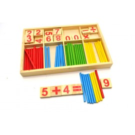 image of [Little B House] Wooden Number Cards and Counting Rods with Box -BKM33