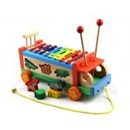 image of [Little B House] Wooden Multifunctional Tractors Serinette Toddler Glockenspiel Xylophone -BKM34