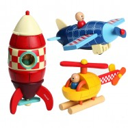 image of [Little B House] Children Wooden Removable Magnet Aircraft Toys For Kids -BKM35