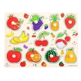 image of [Little B House] 1 set 5 pcs Preschool Educational Wooden Puzzle Toy - Transportation & Fruits -BKM36
